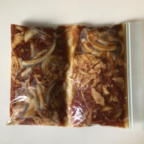 豚のしょうが焼き-ジッパー付き保存袋に